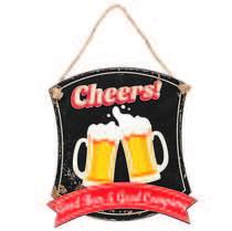 Placa Decorativa de Metal 32 x 30 cm - Good Beer & Good Company