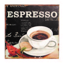 Placa Decorativa de Metal 30x30 cm - Espresso