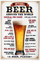 Placa decorativa metal - 30x40 cm - Beer Around the World