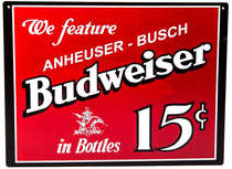 Placa decorativa metal - 30x40 cm - Budweiser 15C
