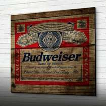 Placa em MDF Budweiser - 48 x 53 cm