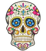 Placa em MDF - Caveira Mexicana - Cruz