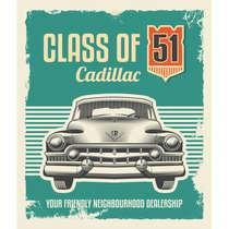Placa em MDF - Class of Cadillac - 44x62 cm