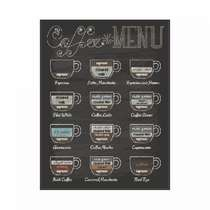 Placa em MDF - Coffee Menu - 28x21cm