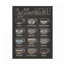Placa em MDF - Coffee Menu - 28x21cm