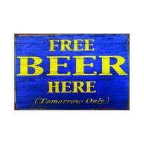 Placa em MDF - Free Beer - 28x21cm