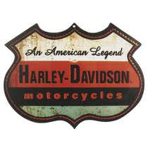 Placa Decorativa MDF - Harley Davidson - An American Legend - 27 x 36 cm