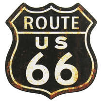 Placa Decorativa MDF - Route 66 -  29 x 27 cm