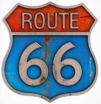 Placa em MDF -  Route 66 - 41cm x 41 cm