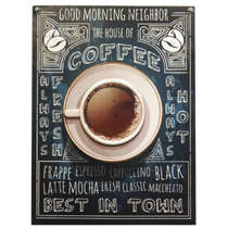 Placa em Metal Coffee - 40x30cm