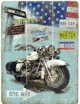 Placa madeira Moto One Way - 40 x 30 cm