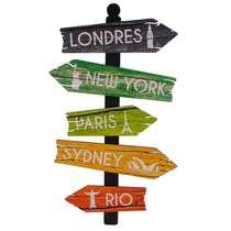 Placa madeira - Setas cidades