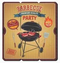 Placa tipo Ripa em MDF - Barbecue Party - 34x32cm