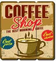 Placa tipo Ripa em MDF - Coffee Shop - 34x32cm