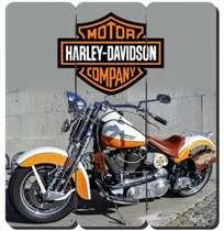 Placa tipo Ripa em MDF - Harley Motocycles - 34x32cm