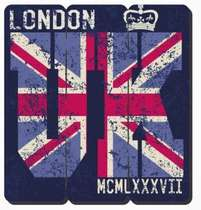 Placa tipo Ripa em MDF - London UK - 34x32cm