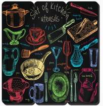Placa tipo Ripa em MDF - Set of Kitchen - 34x32cm