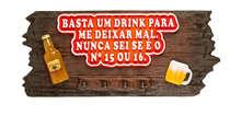 Porta Chaves de Fibra - Basta um Drink - 17x40 cm