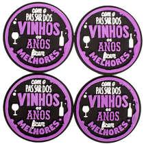 Porta Copos - Com o passar dos vinhos - 4 unidades
