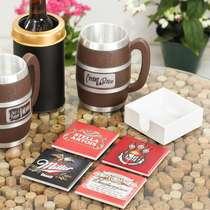 Kit 4 Porta Copos de Azulejos - Stella Artois + Duff + Miller + Budweiser - Suporte Laqueado (Brinde)