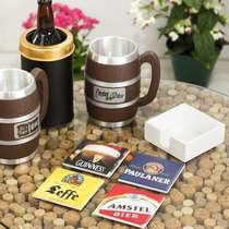 Kit 4 Porta Copos - Leffe + Amstel + Guinness + Paulaner - Suporte Laqueado (Brinde)