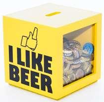Porta tampinhas - I Like Beer (Amarelo) 16x15 cm