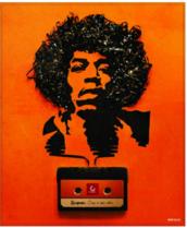 Placa Decorativa MDF - Jimi Hendrix - 22 x 19 cm