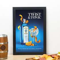 Quadro Bombay Sapphire Twist Tonic- Linha CDB Designer 33x22 cm