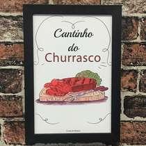 Quadro Cantinho do Churrasco - Linha CDB Designer 33x22 cm