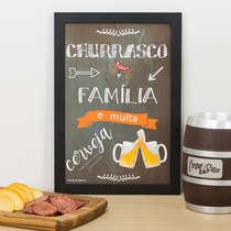 Quadro Churrasco Família e Cerveja - 33x22 cm