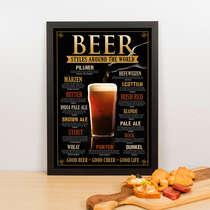 Quadro Decorativo Beer Styles Around The World- 45x32 cm