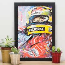 Quadro Ayrton Senna em Cores - 33x22 cm