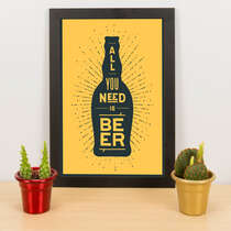 Quadro - All you need is beer - Amarelo - 33x23 cm