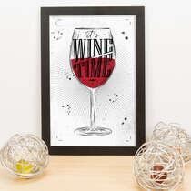 Quadro - It´s wine time - 33x23 cm (Branco)