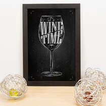 Quadro - It´s wine time - 33x23 cm (Preto)