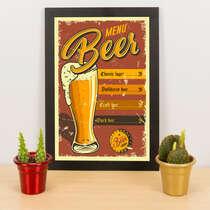 Quadro - Menu Beer -  33x23 cm
