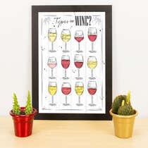 Quadro - Types of Wine - 33x23 cm (Branco)