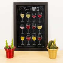 Quadro - Types of Wine - 33x23 cm (Preto)