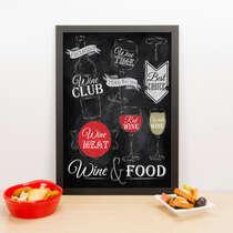 Quadro - Wine & Food - 33x23 cm (Preto)