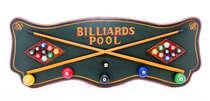 Quadro e Cabideiro em Madeira - Billiards Pool- 80x30cm
