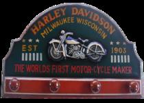 Quadro e Cabideiro em Madeira - Harley Davidson - 60x30cm