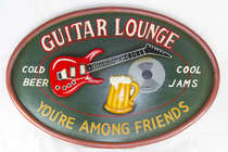 Quadro em madeira tema Guitar Lounge  - 60x40 cm