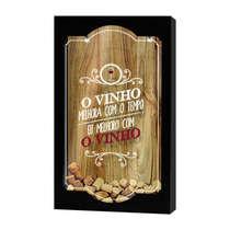Quadro porta-rolhas de garrafas de vinhos - 100 rolhas - O vinho melhora com o tempo