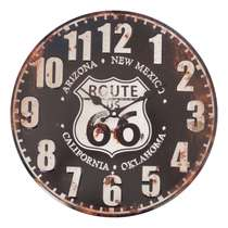 Relógio Metal Relevo - Route 66 (Black) - 40 cm
