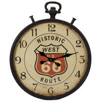 Relógio Parede Metal Retrô - Historic Route 66 52 cm