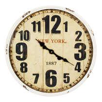 Relógio Parede Metal Retrô Branco - New York 1887 52 cm