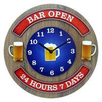 Relógio em MDF - Bar Open - 35 cm de diâmetro