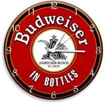 Relógio em MDF - Budweiser  - 28 cm de diâmetro