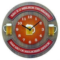 Relógio em MDF - Churrasco e Amigos - 35 cm de diâmetro