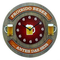Relógio em MDF - Proibido Beber- 35 cm de diâmetro